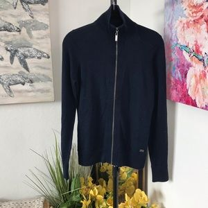 BMW Zip Front Long Sleeve Sweater Size M